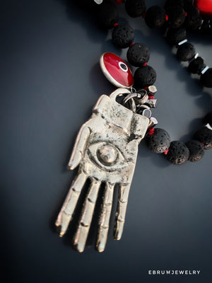 Happiness and Fortune Hamsa Necklace - EBRU JEWELRY