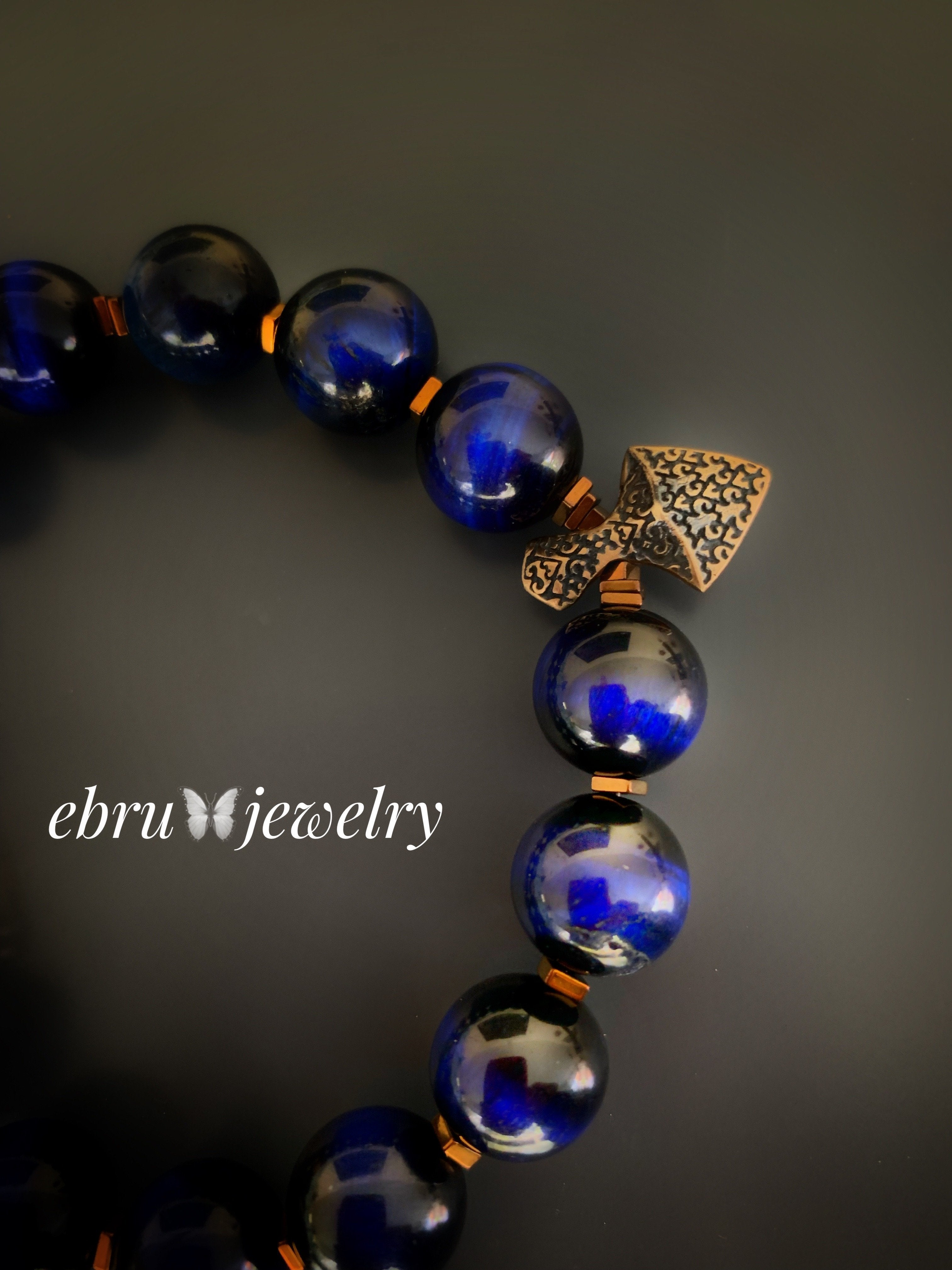 Blue Tiger Eye Bracelet - EBRU JEWELRY
