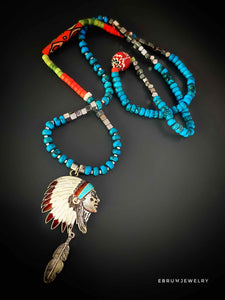 Native America Indian Turquoise Necklace - EBRU JEWELRY