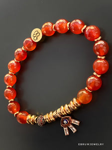 Red Carnelian Stone Evil Eye Bracelet - EBRU JEWELRY