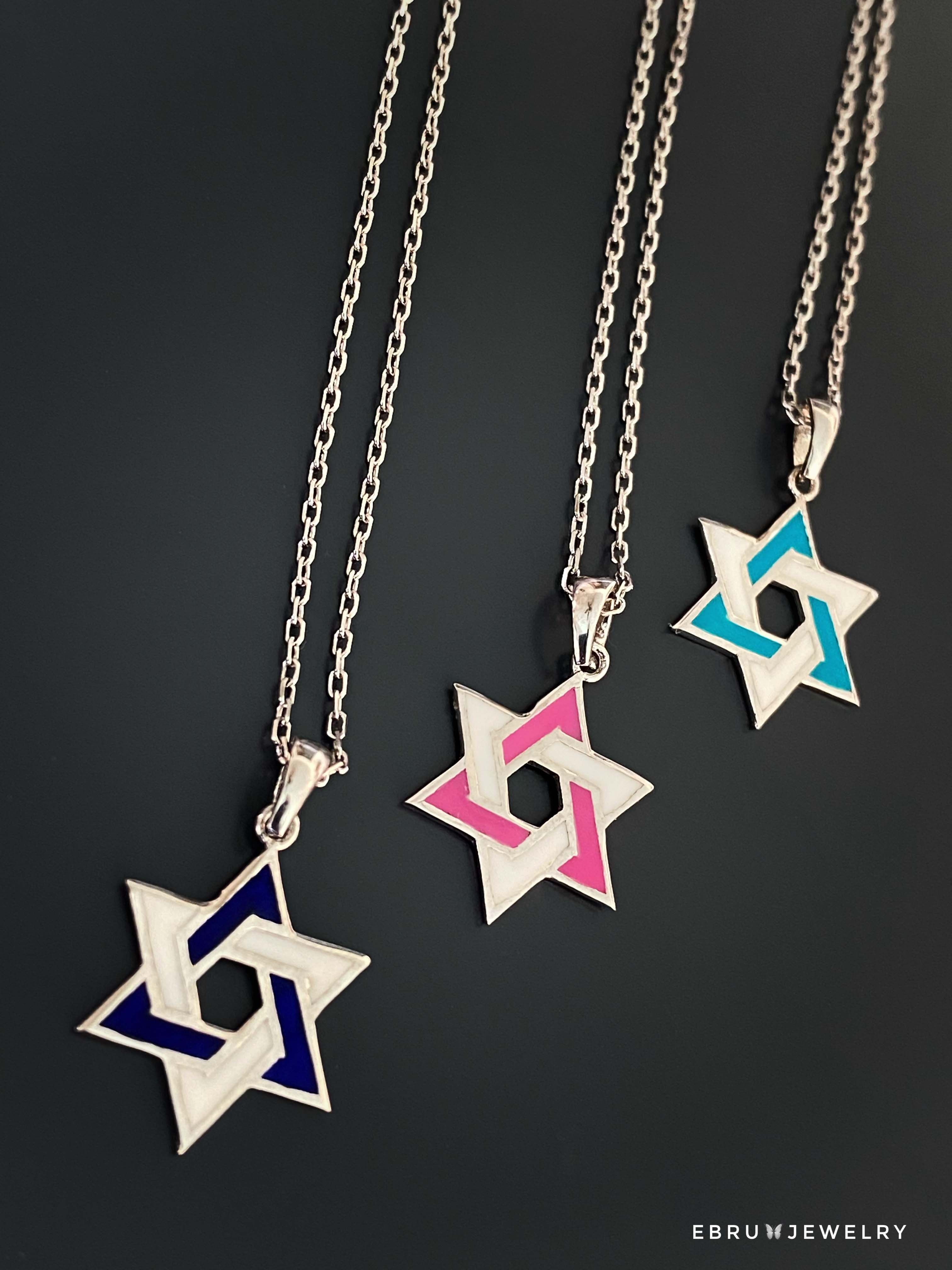 Silver Star of David Necklace - EBRU JEWELRY