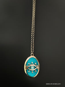 Silver Eye Necklace - EBRU JEWELRY
