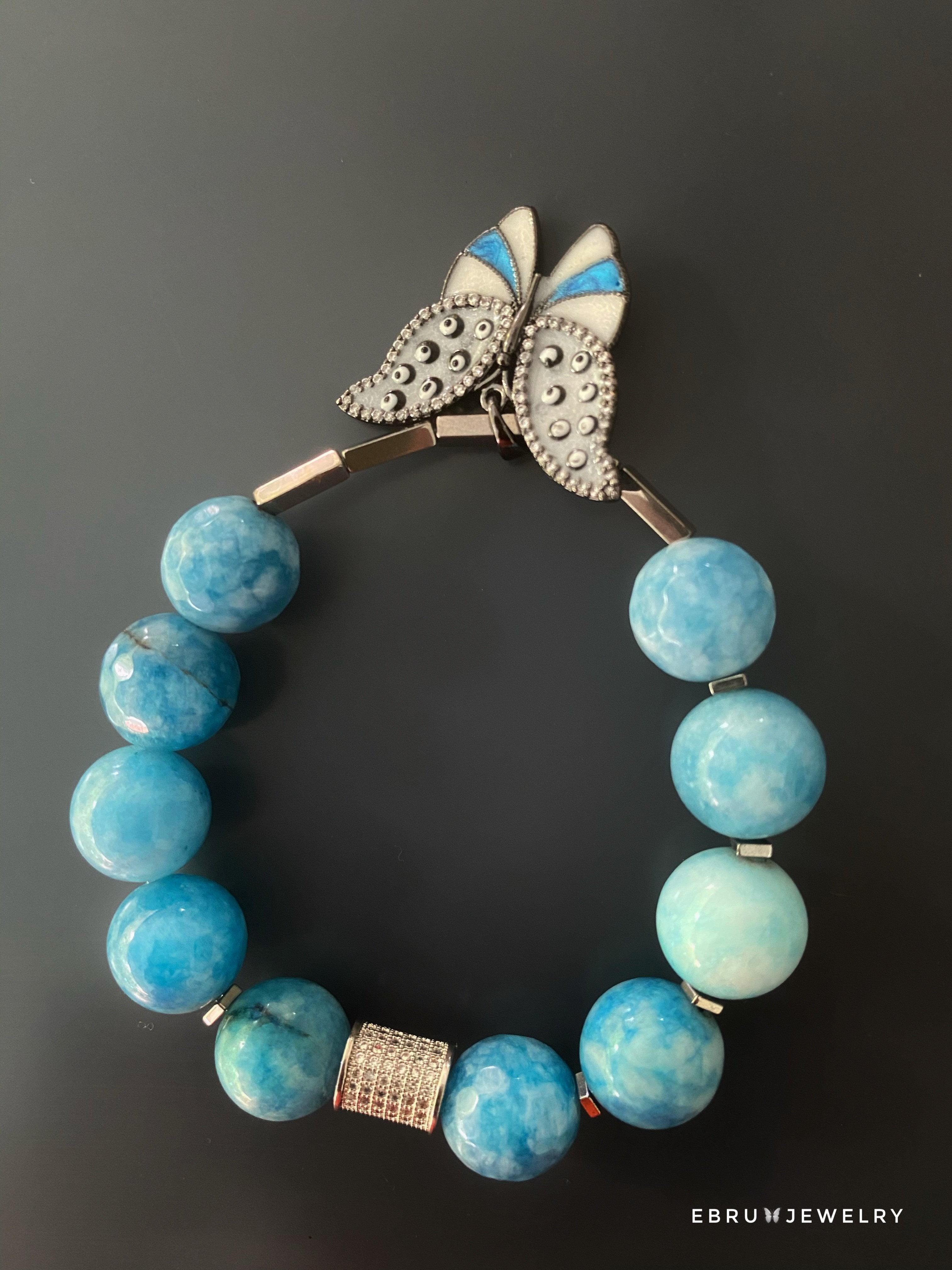 Blue Butterfly Bracelet - EBRU JEWELRY