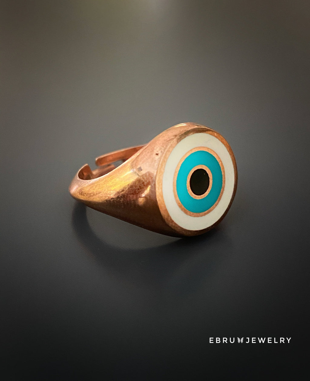 Rose Gold Evil Eye Ring - EBRU JEWELRY