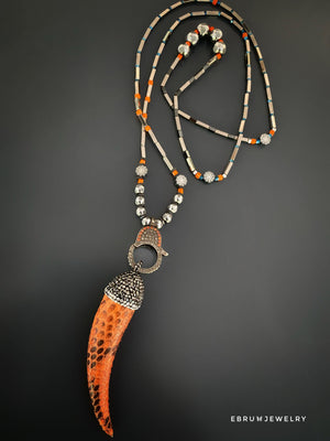 Pave Diamond Good Luck Italian Horn Necklace - EBRU JEWELRY