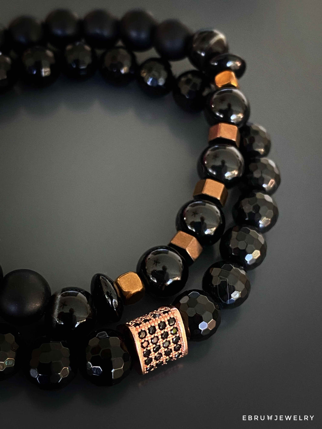 Unisex Black Bracelet Set - EBRU JEWELRY