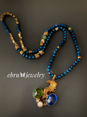 Blue Eagle Necklace - EBRU JEWELRY