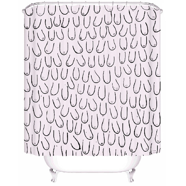 Pink funny shower curtain with boob print