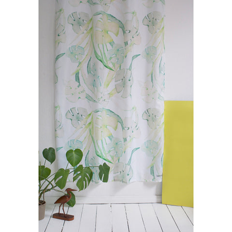 White shower curtain with green fern print
