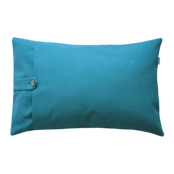 Teal lumbar pillow back side