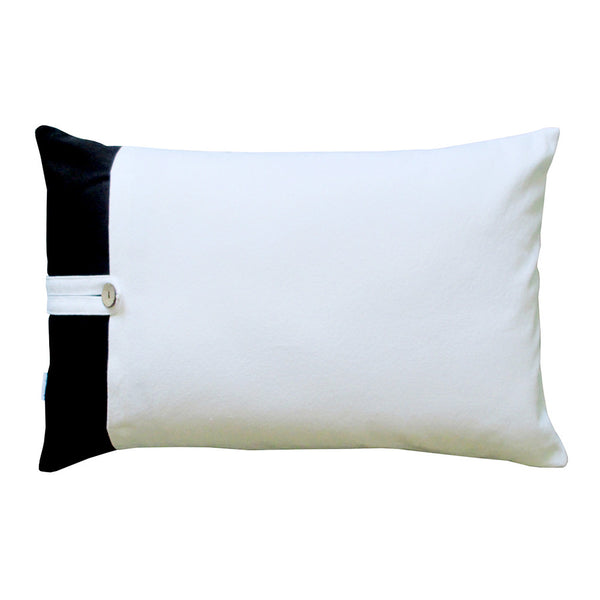 Black white geometric design thow pillow back side
