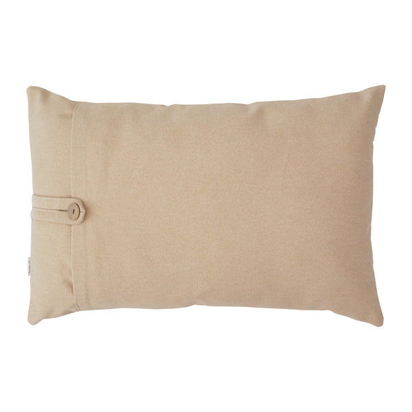 Beige colored back side of lumbar pillow
