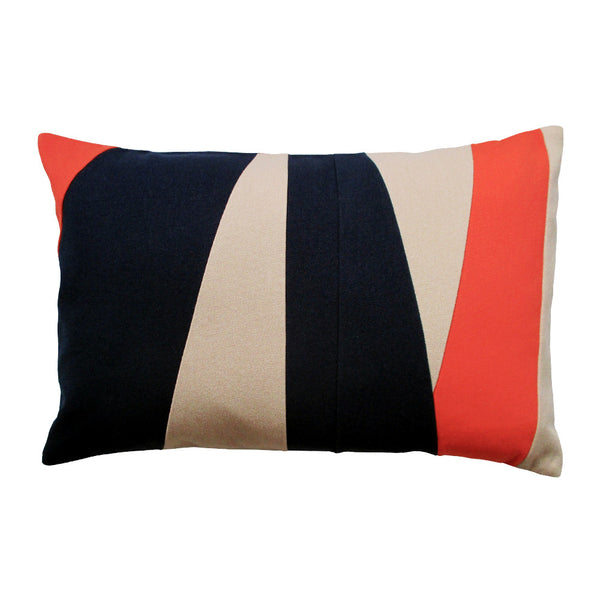 Maritime lumbar pillow with blue, beige, orange stripes