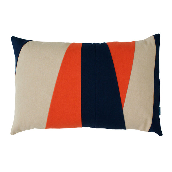 Beige and orange striped throw pillow with blue accents