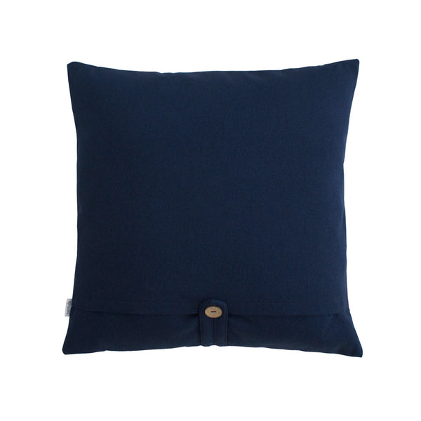 Blue colored back side of square pillow