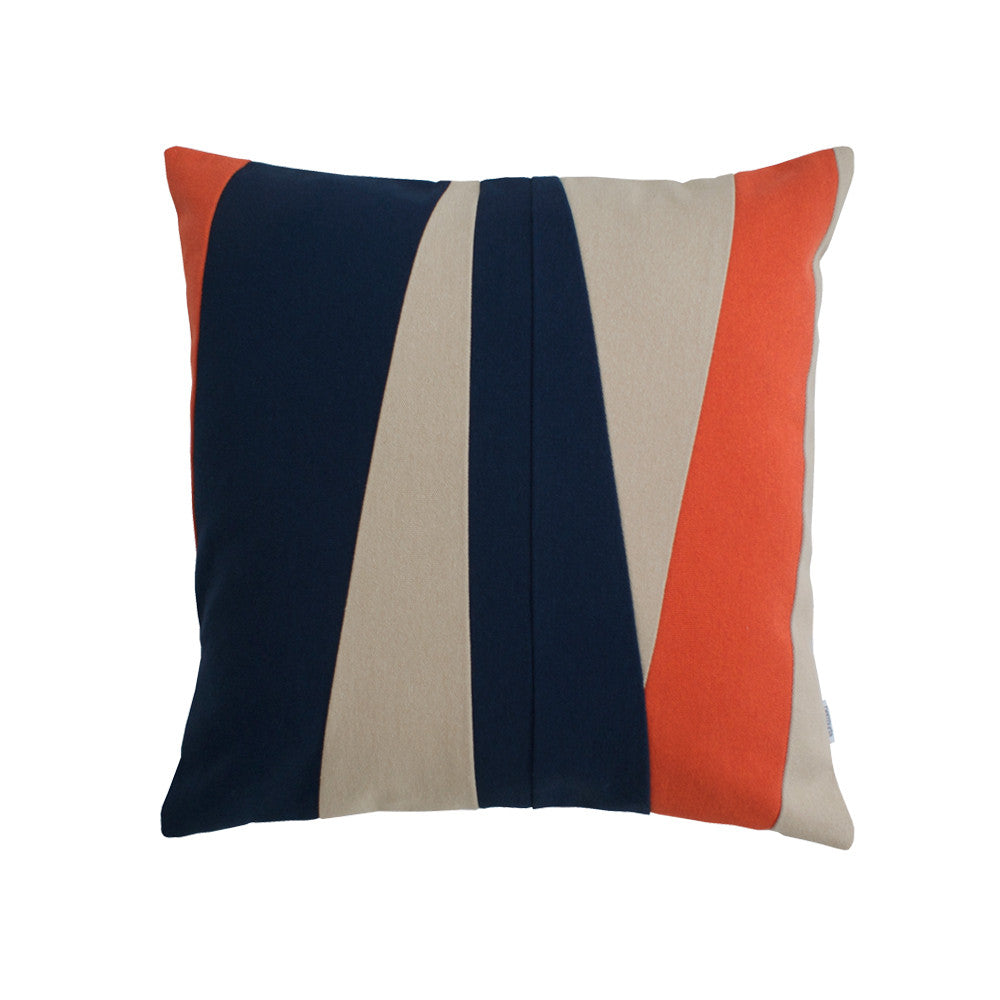 Square maritime pillow with stripes in blue, beige, and orange
