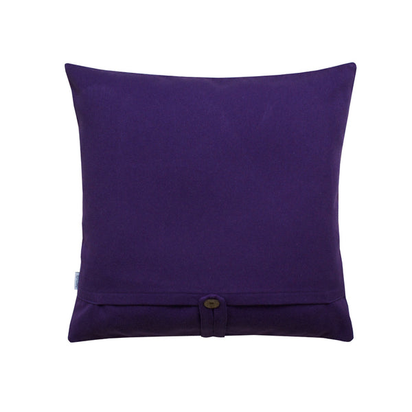 Violet back side of throw pillow
