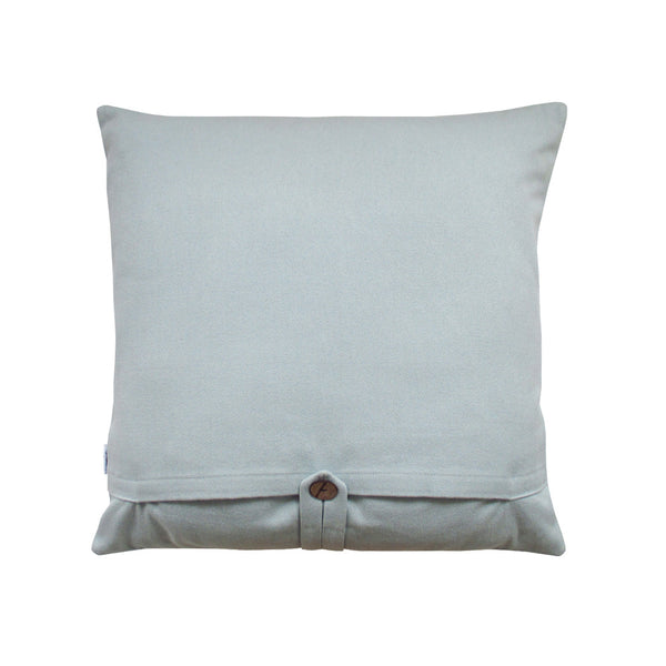 blue throw pillow back side