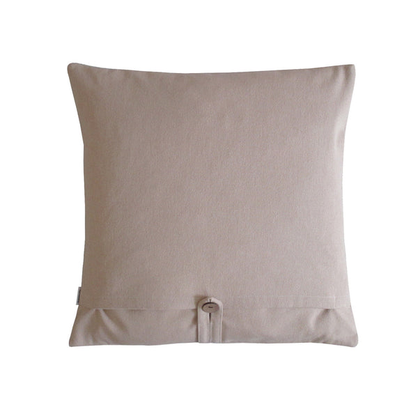 Sand colored back side of a square throw pillow with envelope closure