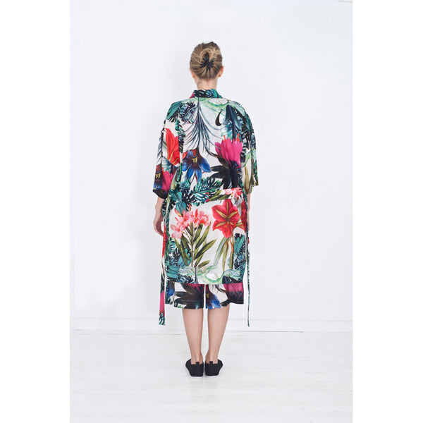 back side of women's flower print kimono
