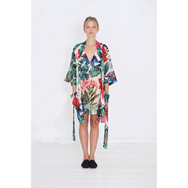 women's kimono with flower print over a matching night dress