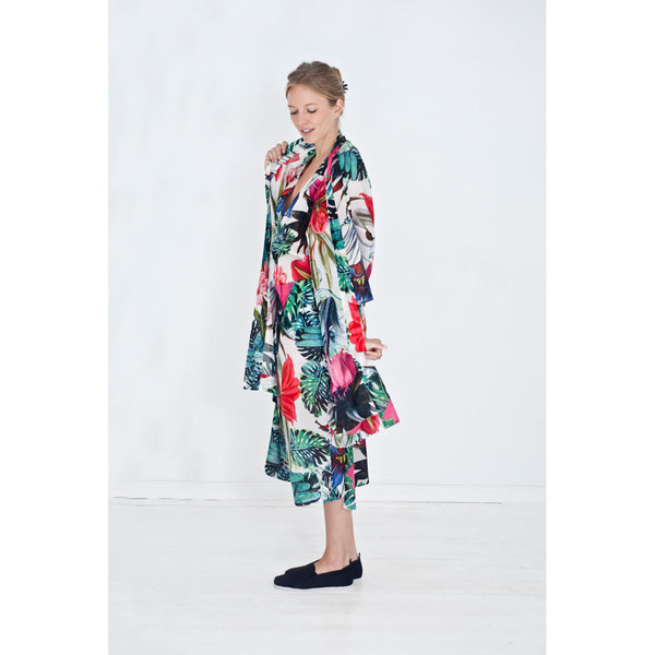 Women's kimono with exotic plants and flower print combined with matching pants