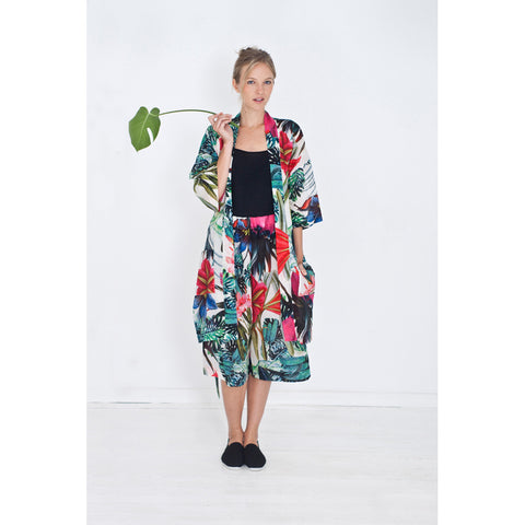 Womens homewear outfit with pants and kimono with exotic flower print
