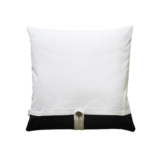 Back side of black and white throw pillow modern design
