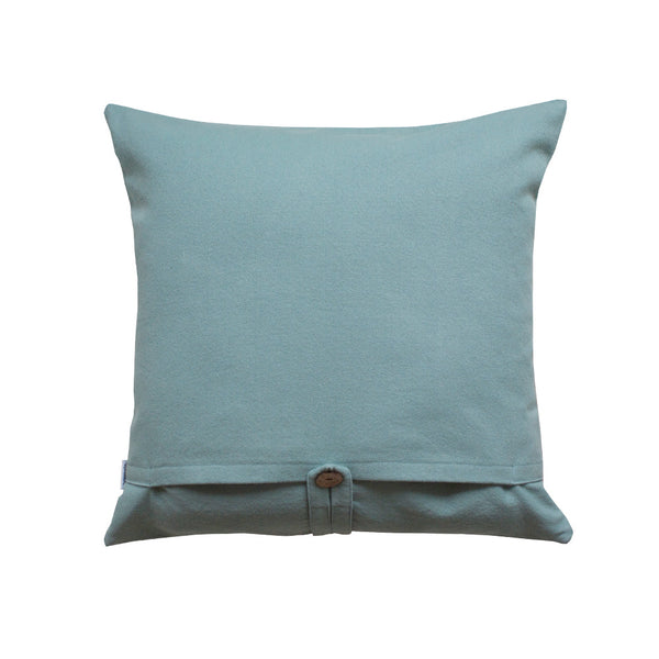 teal throw pillow back side