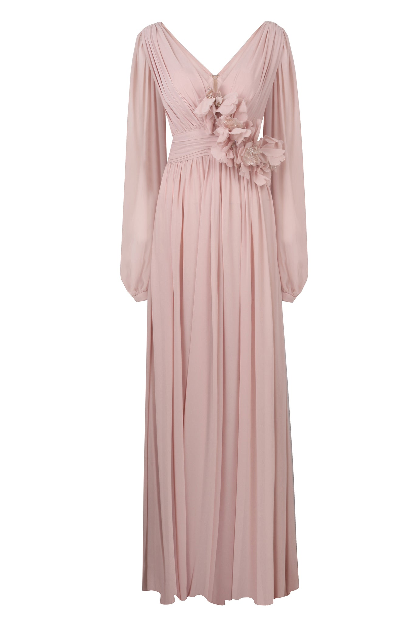 HANDMADE FLOWER DETAILS HIGH SILKY CHIFFON LONG DRESS