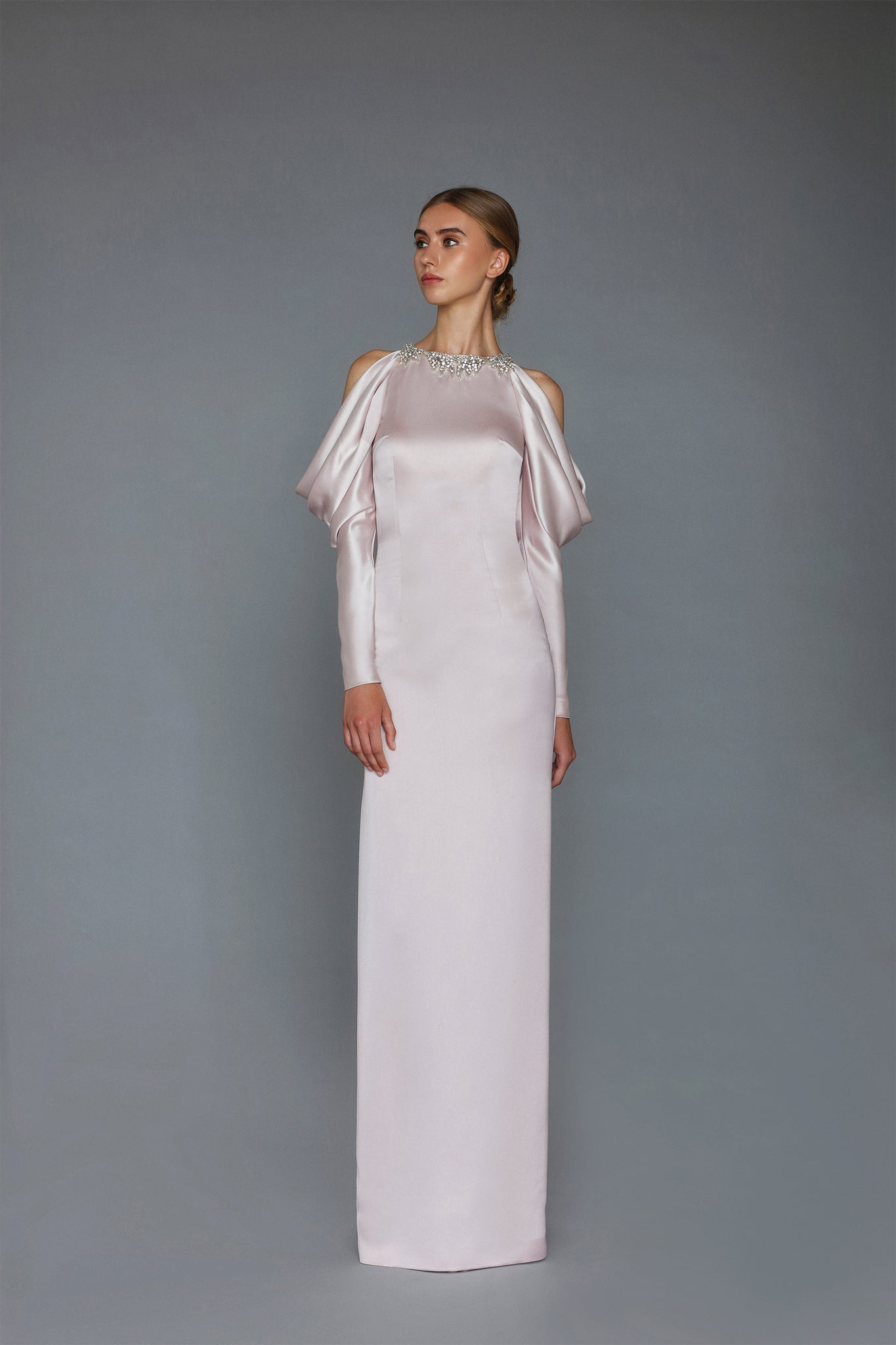 HANDMADE EMBROIDERED WET SATIN LONG DRESS