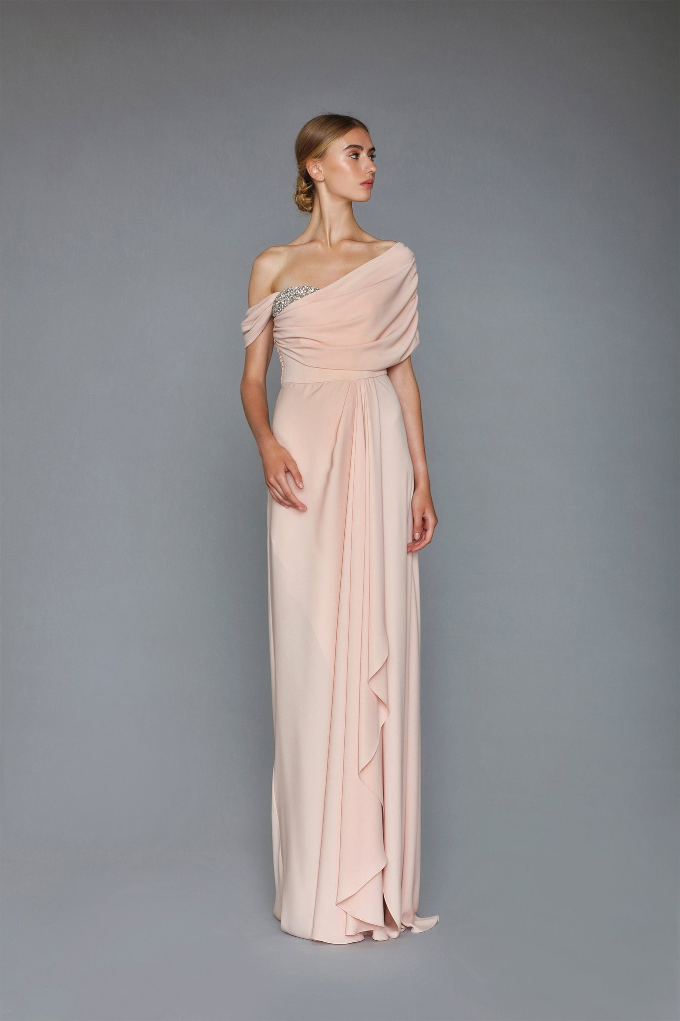 HANDMADE EMBROIDERED LIGHT SILKY CREPE LONG DRESS