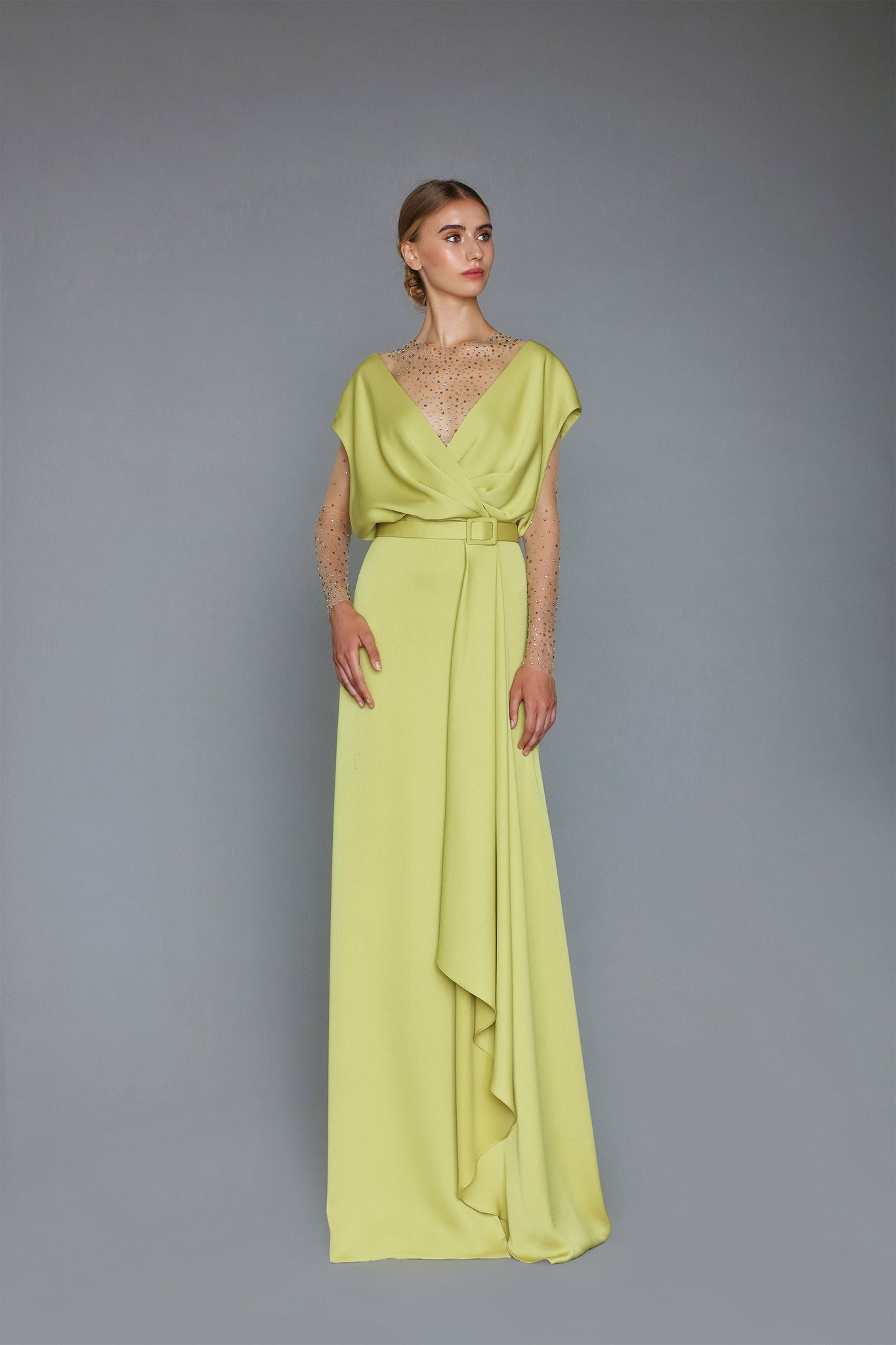 HANDMADE STONY CREPE SATIN LONG DRESS