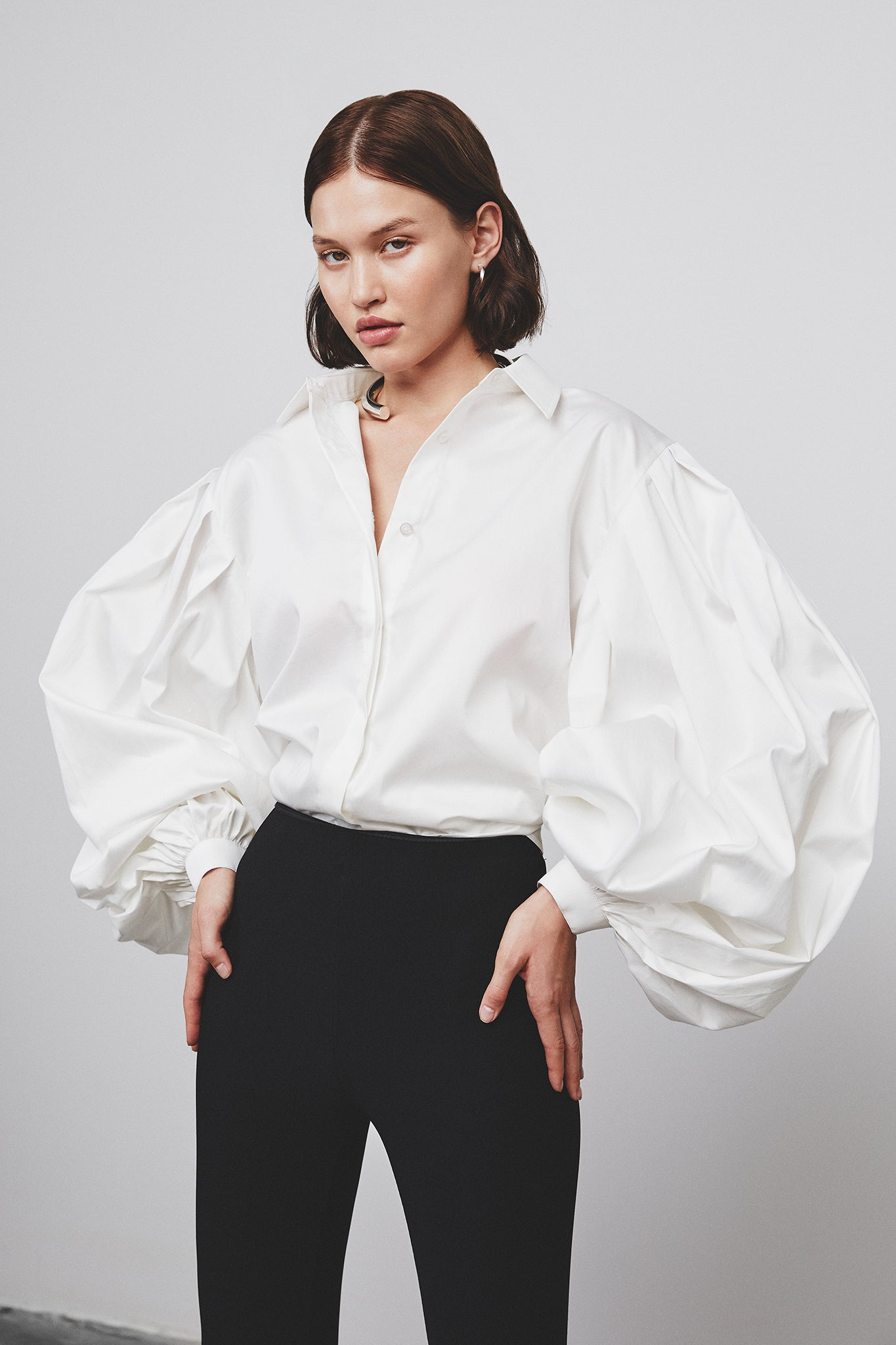 OVER SIZE SLEEVE COTTON SHIRT
