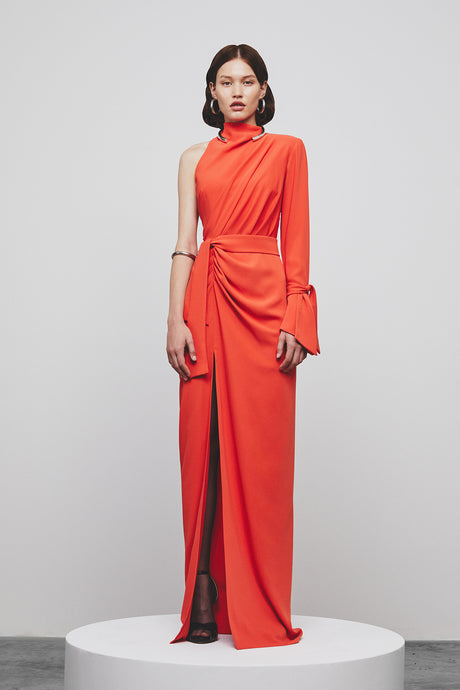 LIGHT CREPE DRAPED DRESS