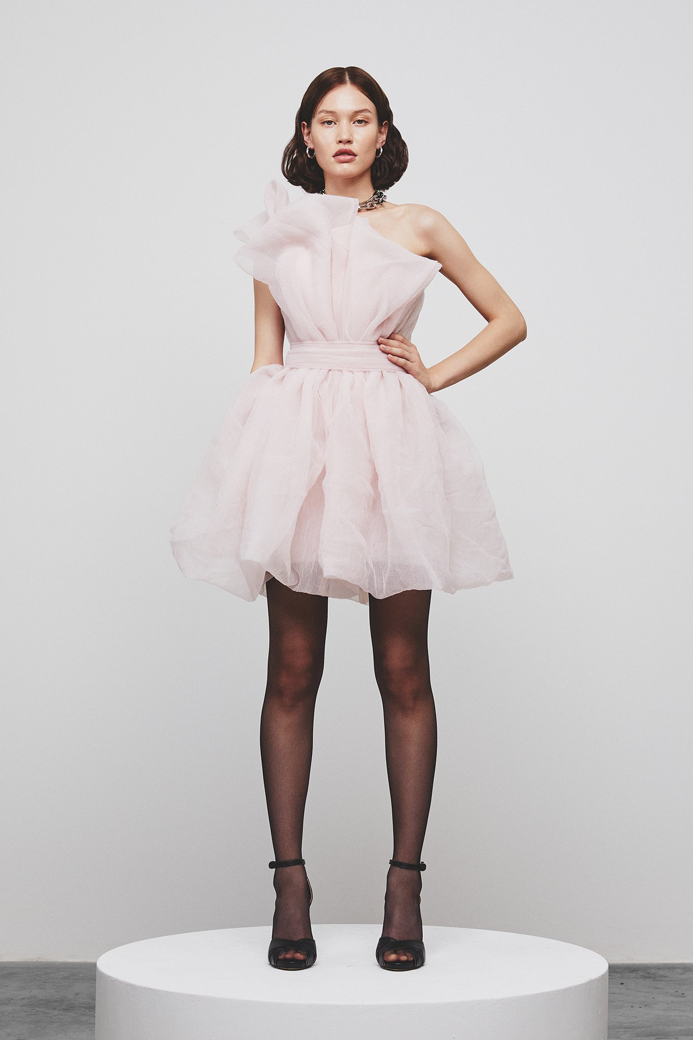 WASHED EFFECT ORGANZA MINI PARTY DRESS