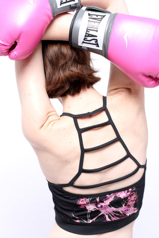 Back of woman wearing Epidemia Designs She's Got Brains Longline Bra