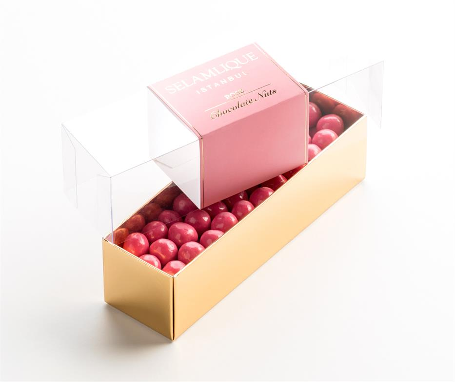 Selamlique Belgian Chocolate Covered Turkish Hazelnuts With Natural Rose Flavour, 200g net weight