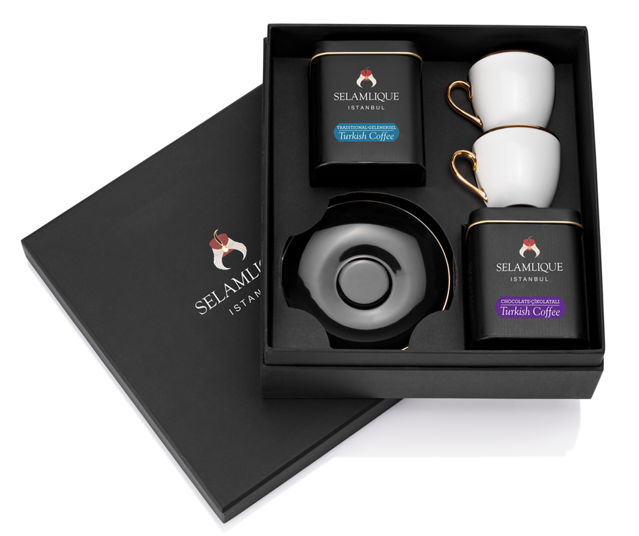 Classic Turkish Coffee and Demitasse Gift Set (Black)