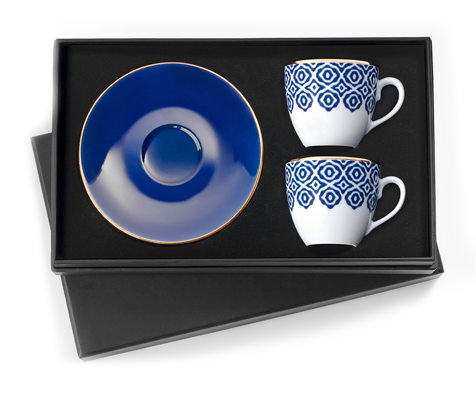 Turkish Coffee Cups - 'Blue Blanche' Design