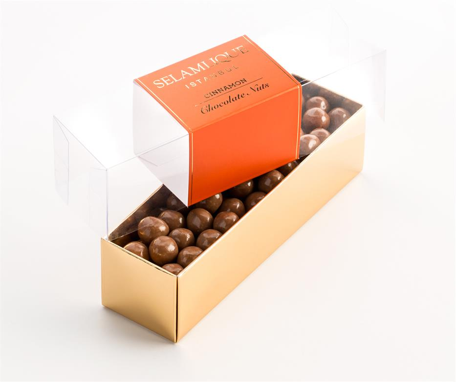 Selamlique Belgian Chocolate Covered Turkish Hazelnuts With Natural Cinnamon Flavour, 200g net weight