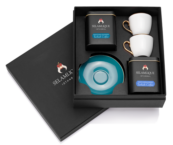 Classic Turkish Coffee and Cups Gift Set - Turquoise