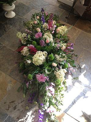Country Coffin  Spray - Seasonal Garden Flowers.