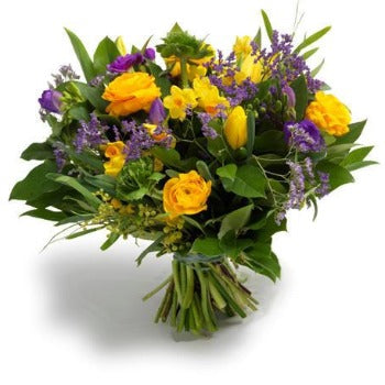 Yellow and Blue Bouquet Includes Tulips in Season Joanne's Florist Winchester