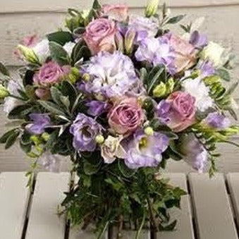 Afii - Vintage Lilac Pink Roses, Freesia Bouquet.
