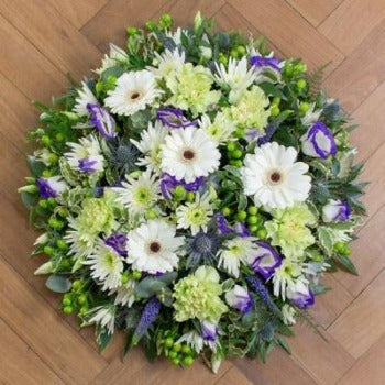 Frances-Funeral Posie in Lime, White and Green Blooms.