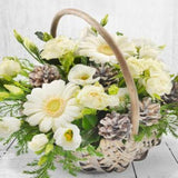 Christmas Basket White Roses Winchester Delivery