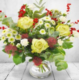 Lime Green Cream Rose Christmas Bouquet Joannes Florist Winchester