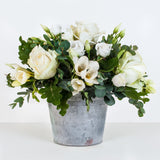 Victoria's Cream Rose and Freesia Zinc Arrangement.