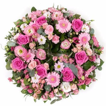 Vintage Pink Funeral Wreath Posy suitable for Mum. Winchester Florists